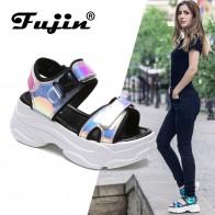€ 10.35 50% de réduction|Fujin marque femmes sandales 2019 nouvelle mode dames chaussures décontractées Bling cales boucle sangle plate forme chaussures 5 CM sandales d