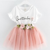 US $12.99 |3 8Years Girls Summer Clothing Sets, Baby Kids Pattern Letter T shirts& Floral Tulle Tutu Skirt  2pcs Sets Free Shipping Retail-in Clothing Sets from Mother & Kids on Aliexpress.com | Alibaba Group