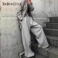 2242.9 руб. 30% СКИДКА|Женские широкие брюки TWOTWINSTYLE, серые утепленные эластичные брюки на пуговицах с высокой талией в корейском стиле на осень зиму-in Штаны и капри from Женская одежда on Aliexpress.com | Alibaba Group