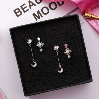 US $2.79 30% OFF|2018 New Design Korean Asymmetric Earrings For Women Trendy Shiny Rhinestone Moon Star Planet Pendientes Cute Girl Gifts Jewelry-in Drop Earrings from Jewelry & Accessories on Aliexpress.com | Alibaba Group