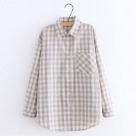 US $17.18 24% OFF|Lolita Shirt 2019 Mori Girls Spring Autumn Japan Style New Plaid Shirt Long sleeved Cotton Ladies Tops Camisas Mujer YoYiKamomo-in Blouses & Shirts from Women