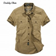 US $14.88 33% OFF|Daddy Chen Jeep Solid Color Cotton Mens Shirts Short Sleeve Turn down Collar Army Green Khaki Men Tops Casual Male Camisas XXXL-in Casual Shirts from Men