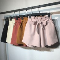 US $12.99 49% OFF 2018 New Summer Autumn Fashion Elastic Sashes High Waist Shorts Women Vintage Wide Leg shorts Solid Thin Bow Female Shorts Mw204-in Shorts from Women
