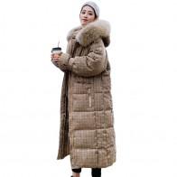 2946.76руб. 30% СКИДКА|Корейский стиль 2019 зимняя женская куртка с капюшоном с мехом X long пуховик утепленная стеганая парка высокого качества-in Пуховые пальто from Женская одежда on AliExpress - 11.11_Double 11_Singles