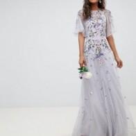 Платье макси из сетки добби с цветочной вышивкой и рукавами клеш ASOS DESIGN Tall