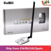 AWUS036NH LUXURY ALFA Adapter Network Ralink3070L 2.4Ghz High Power Wireless USB Wifi Adapter 2*8dBi Antenna With Long Range-in Network Cards from Computer & Office on AliExpress