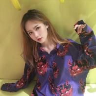 1061.79 руб. |Новое поступление японский Harajuku дьявол печатных Свободная рубашка 001 купить на AliExpress