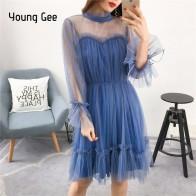 Молодой гы платье модные женские туфли элегантный сладкий сетки отделкой с агаровое кружево платья для женщин Sheer пикантные вечерние принцесс купить на AliExpress
