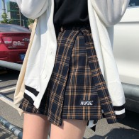 US $11.57 11% OFF|Casual Basic Fashion All Match Plaid Vintage Irregular High Waist College Wind 2018 New Fashion Female Women Mini Skirts-in Skirts from Women