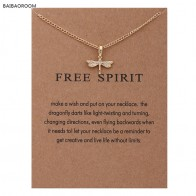 38.68 руб. 40% СКИДКА|Модное ювелирное напоминание «свободный дух» золотого цвета стрекоза кулон ожерелье женщины купить на AliExpress