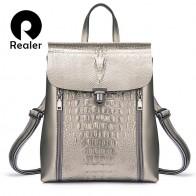 2585.02 руб. 62% СКИДКА|REALER рюкзак женский, рюкзак женский кожаный, рюкзак школьный для девочек подростков, бренд модный женский рюкзак из сплит кожи, женская вместительная сумка на плечо с изящными принтами серебряный/розовый рюкзак-in Рюкзаки from Багаж и сумки on Aliexpress.com | Alibaba Group