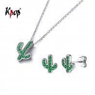 US $10.99 50% OFF|Kpop 925 Sterling Silver Cactus Earring Studs Pendant Necklace Gifts for Her Green Cubic Zirconia Plant Flora Jewelry Set E6318-in Jewelry Sets from Jewelry & Accessories on Aliexpress.com | Alibaba Group