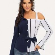 Полосатая блуза с открытыми плечами