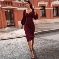 706.41руб. 50% СКИДКА|Nibber, сексуальное платье с v образным вырезом, с открытыми плечами, облегающее, для женщин, Осень зима, Клубные, вечерние, красные, элегантные, миди платье, женское, черное платье-in Платья from Женская одежда on AliExpress - 11.11_Double 11_Singles