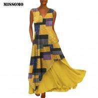 MISSOMO Plus Size 5XL Women Vintage V Neck Splicing Printed Sleeveless long Maxi Dress Linen summer dress women vestidos 611-in Dresses from Women