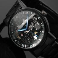 1193.86 руб. 90% СКИДКА|2016 новинка черные мужские наручные часы со скелетом античный из нержавеющей стали стимпанк повседневные автоматические тонкие механические часы мужские купить на AliExpress