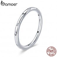 US $4.99 30% OFF|BAMOER 100% 925 Sterling Silver Clear CZ Crystal Round Engagement Finger Ring for Women Sterling Silver Jewelry S925 SCR374-in Wedding Bands from Jewelry & Accessories on AliExpress - 11.11_Double 11_Singles