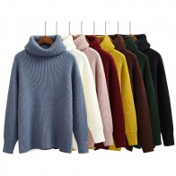 US $15.94 16% OFF|Harajuku Women Solid Color Turtleneck Loose Brief Thermal Thickening Retro Sweater Female Kawaii Knitted Jumper And Pullover-in Pullovers from Women