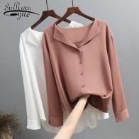 Повседневные однотонные женские рубашки верхняя одежда топы 2019 осень новая женская шифоновая блузка Офисная Леди v-образным кнопка вырезом...