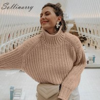 US $16.49 45% OFF|Sollinarry Knitwear Winter Pullovers Sweaters Women Autumn Turtle Neck Loose Sweater Jumper Female Solid Khaki Chic Sweater Tops-in Pullovers from Women