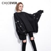 1526.56 руб. 10% СКИДКА|CHICEVER зимние Полые Пуловеры женские толстовки для женщин топ рукав
