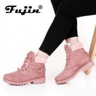 1464.56 руб. 43% СКИДКА|Fujin/Новинка, розовые женские ботинки на шнуровке, однотонные повседневные ботильоны, ботинки, 11,11, женская обувь с круглым носком, зимние ботинки, теплые ботинки в британском стиле купить на AliExpress