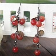 40.56 руб. 30% СКИДКА|Модные милые красные вишневые длинные серьги с кисточками лист со стразами серьги гвоздики в виде бусинок для женщин ювелирные изделия Букле D