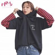 US $20.92 9% OFF  2018 Harajuku Ulzzang BF False Two Piece Head Stitching Hoodie Autumn/Winter Korean Loose Striped Long Sleeved Hooded Hoodie-in Hoodies & Sweatshirts from Women