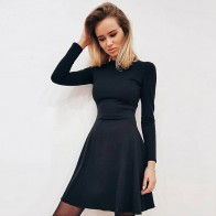 Fall Fashion 2018 Women Long Sleeve Bodycon O neck Casual Dress Winter Vintage Sexy Mini Party Dresses Autumn Clothes Vestidos-in Dresses from Women