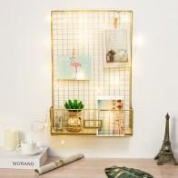 Золотая настенная подвесная стойка для хранения скандинавские DIY железная сетка многофункциональная Панель для фото дисплея подвесной дом... - Красивые полки для дома