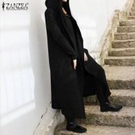 ZANZEA Женская толстовка с длинным рукавом, осень, однотонный, свободный, повседневная, с капюшоном - Толстовки и худи