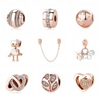 US $3.79 43% OFF|Authentic Original 100% 925 Sterling Silver Charm Bead Rose Gold Pendant Clip Charms CZ Fit Pandora Bracelets Women DIY Jewelry-in Beads from Jewelry & Accessories on Aliexpress.com | Alibaba Group