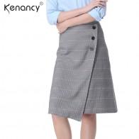774.88 руб. 40% СКИДКА|Kenancy 3XL плюс Размеры перед открытием на пуговицах клетчатая юбка Для женщин Высокая талия прямо наложения Saia 2 цвета универсальные купить на AliExpress