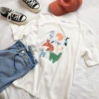 784.04 руб. 30% СКИДКА|Зоопарк печати Для женщин белая футболка короткий рукав модная корейский стиль женский футболка Топы-in Футболки from Женская одежда on Aliexpress.com | Alibaba Group