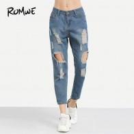 € 14.97 |ROMWE azul rasgado desgastado novio tobillo Denim Jeans mujeres Casual verano otoño liso pierna recta pantalones primavera Pantalones-in Pantalones vaqueros from Ropa de mujer on Aliexpress.com | Alibaba Group
