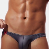 Mens Sexy Thin Solid Color Low Waist Casual Ice Silk Briefs