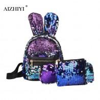 706.22 руб. 35% СКИДКА|3 шт./компл., мини рюкзак с блестками и кроличьими ушками для женщин, модная простая школьная сумка на плечо, женский рюкзак для путешествий с карандашом-in Рюкзаки from Багаж и сумки on Aliexpress.com | Alibaba Group
