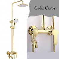 US $96.27 17% OFF|Black rainfall shower faucet set mixer tap, Gold plated bath shower faucet wall mounted, Bathroom Brass shower faucet-in Shower Faucets from Home Improvement on Aliexpress.com | Alibaba Group