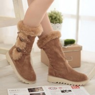 LOSTISY Warm Fur Buckle Boots
