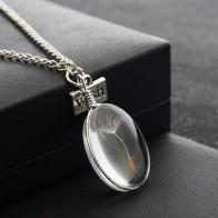 62.78 руб. 42% СКИДКА|Натуральный Одуванчик семя образец стеклянный клейкий лист и Wish Tag ожерелье с подвеской женское овальное время ожерелье с камнем купить на AliExpress