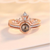 Rose Gold&Silver 100 languages I love you Projection Ring Romantic Love Memory Wedding Ring Jewelry Dropshipping on AliExpress