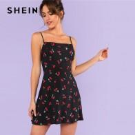719.3 руб. 40% СКИДКА|SHEIN повторяющееся Вишневое платье с принтом на бретельках для женщин без рукавов на молнии Повседневное платье 2018 свободное короткое платье-in Платья from Женская одежда on Aliexpress.com | Alibaba Group