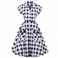 US $17.87 49% OFF|Joineles 60s Audrey Hepburn Vintage Dress Plus Size 4XL Plaid Print Women Party Dress Elegant Swing Rockabilly Feminino Vestidos-in Dresses from Women