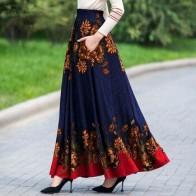 Женская юбка макси с высокой талией и цветочным принтом, элегантная, винтажная, длинная, плиссированная, высокое качество, размера плюс - Юбки