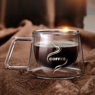 Креативная двухслойная стеклянная кружка, высокое качество, офисный домашний стол, чашка, теплоизоляция, чай, молоко, кофе, кружки, стол, гор... - Кружки ☕