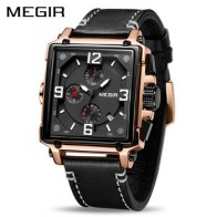 MEGIR Креативные мужские часы Топ бренд класса люкс Хронограф Кварцевые часы мужские кожаные спортивные армейские военные наручные часы Saat
