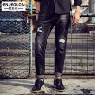 3102.1 руб. |Enjeolon продажа бренда качество джинсы Штаны мужчин, длинная брюки джинсы мужской, джинсы черные прямые мужчин повседневные отверстие Штаны NZ020 купить на AliExpress