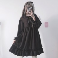 US $21.66 35% OFF|Japanese Harajuku Women Black Ruffles Dress Lantern Sleeve Lolita Style Student