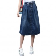 1503.33 руб. 10% СКИДКА|2019, высокая талия, хлопок, деним, Женская длинная юбка, шнуровка, талия, больше размера, женская джинсовая юбка, плюс Размер 7XL, женские юбки Faldas Saias-in Юбки from Женская одежда on Aliexpress.com | Alibaba Group