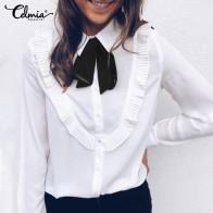 Винтажная женская блузка с галстуком бабочкой и оборками, cellumia 2020, модная весенняя Рабочая женская рубашка с длинным рукавом и пуговицами, топы размера плюс, Blusas 7 on AliExpress